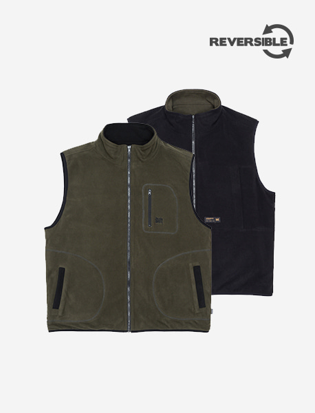 TAG REVERSIBLE FLEECE VEST - KHAKI brownbreath