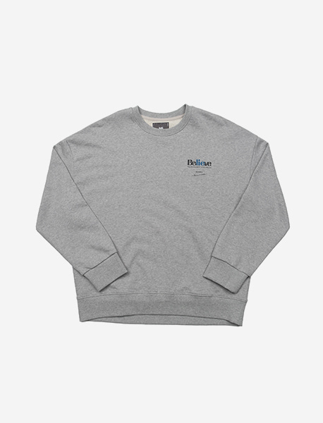 BELIEVE CREWNECK - GREY brownbreath